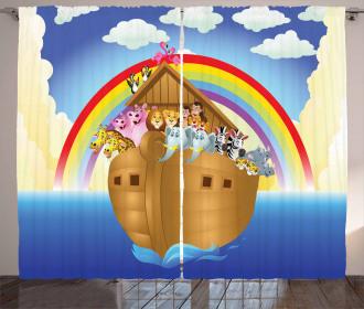 Clouds Animals Ship Curtain