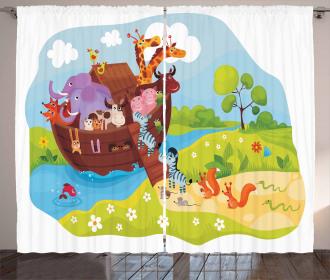 Animals Boarding Ark Curtain