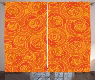 Outline Roses Autumn Curtain