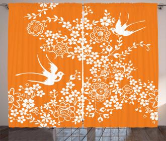 Flowers Birds Curtain