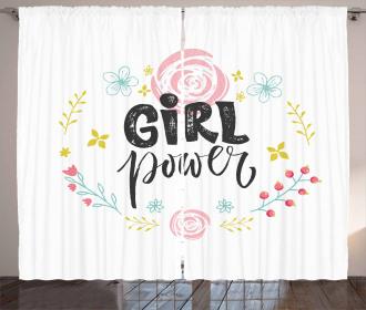 Motivational Girl Power Curtain