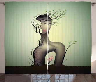 Surrealist Woman Shape Curtain