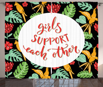 Tropical Theme Quote Curtain