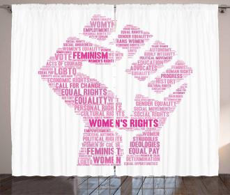 Lgbt Female Fist Print Curtain