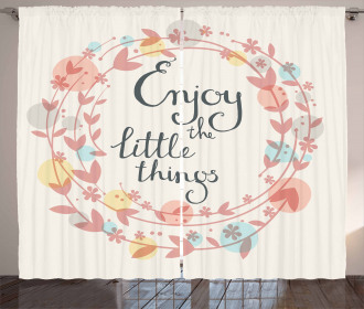 Flowers and Leaves Phrase Curtain