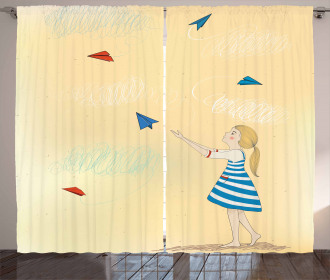 Girl with Paper Planes Curtain