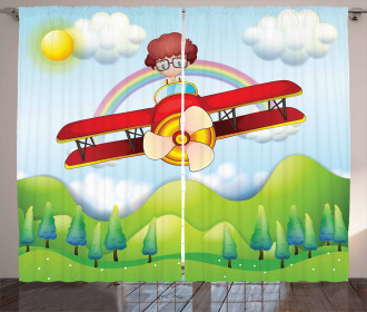 Boy in Sky Sunny Day Curtain