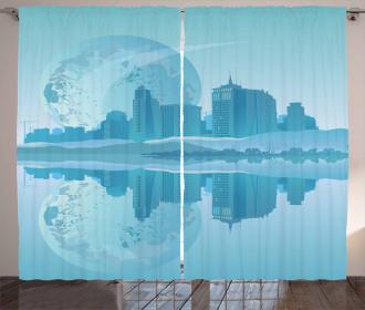 Modern City Building Earth Curtain