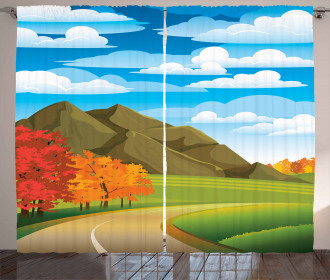 Autumn Road Trees Leaves Curtain
