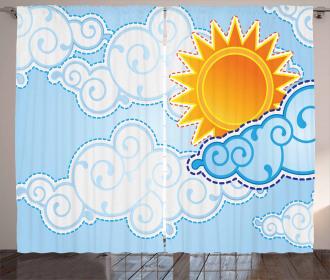 Cartoon Summer Swirls Curtain
