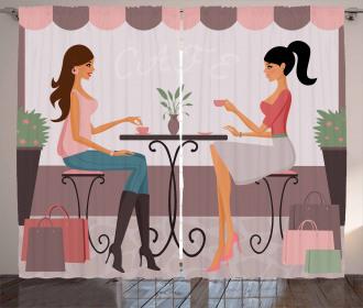 Women Having Coffee Curtain
