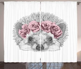 Hand Drawn Romantic Wreath Curtain