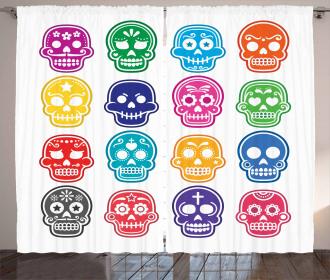 Cartoon Style Skull Curtain