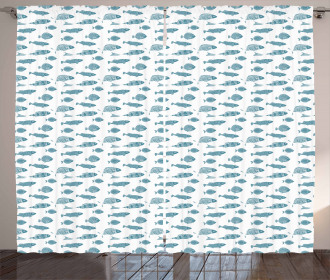 Exotic Ocean Fauna Pattern Curtain