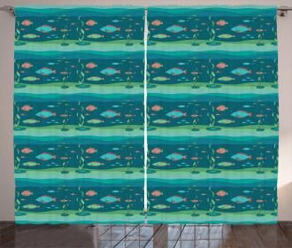 Cartoon Ocean Composition Curtain