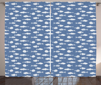 White Silhouette Fish Curtain