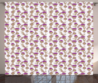 Summer Floral Thistles Curtain