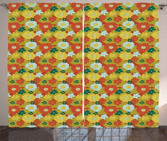 Chrysanthemum and Lily Curtain