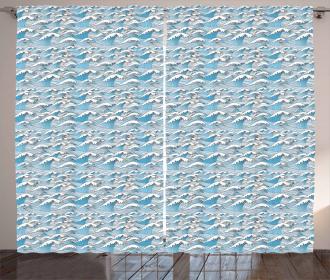 Wavy Sea Marine Stripes Curtain