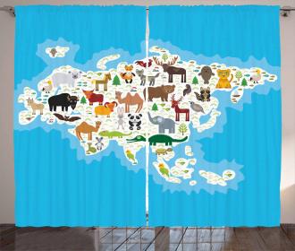 Eurasian Fauna Bear Fox Curtain