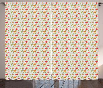 Simplistic Ivy Stems Buds Curtain