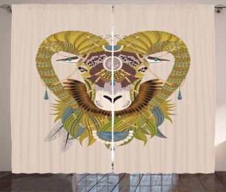 Ethnic Tribal Animal Head Curtain