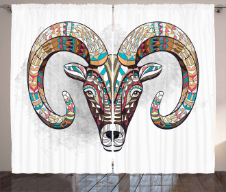 Colorful Tribal Totem Head Curtain