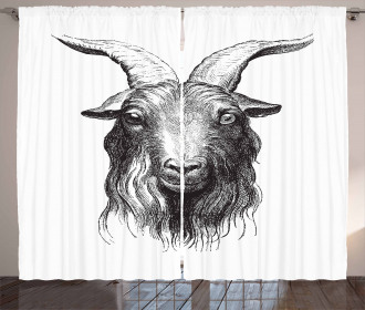 Wild Ruminant Mammal Head Curtain