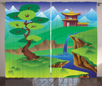 Cartoon Chinese Forest Curtain