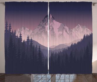 Foggy Mountain Range Curtain