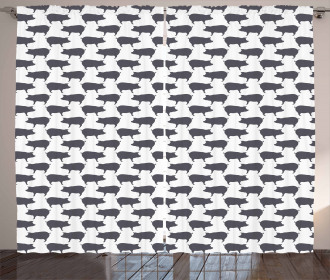 Domestic Pig Silhouettes Curtain