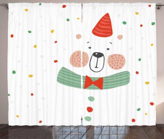 Xmas Bear Party Hat Curtain