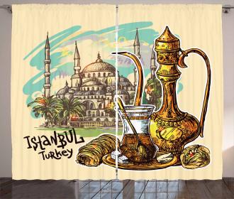 Teapot Sweets Turkish Curtain