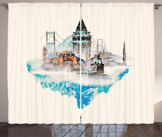 Watercolor Winter Art Curtain