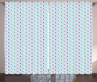 Shabby Retro Polka Dot Curtain