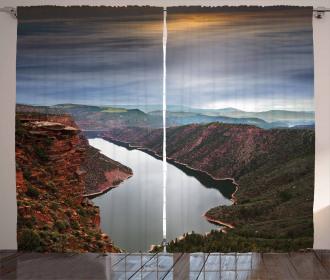 Mountain River Scenery Curtain