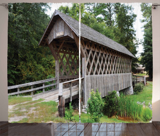 Old Wooden Bridge Print Curtain