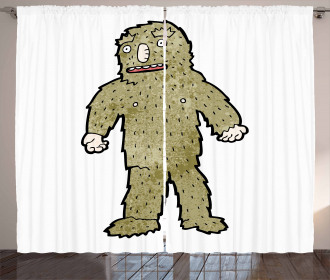 Quirky Grungy Bigfoot Curtain