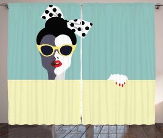 Retro Pop Art Young Woman Curtain