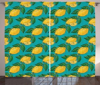 Hand Drawn Style Lemons Curtain