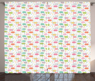 Pastel Sky Elements Kids Curtain