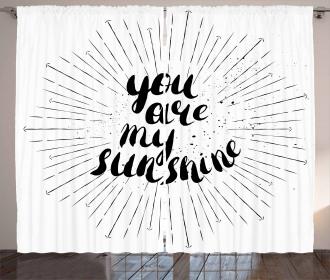 Monochrome Love Slogan Curtain