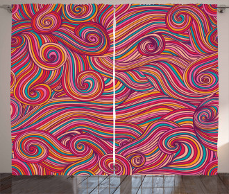 Colorful Vibrant Waves Curtain