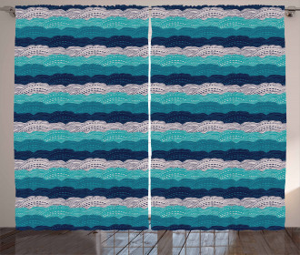 Ornamental Waves in Blue Tones Curtain