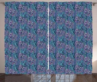 Sea Foliage Curly Stripes Curtain