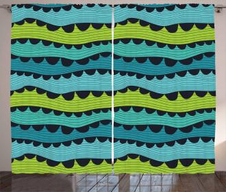 Stylized Waves Artwork Curtain