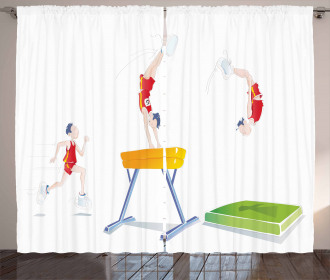 Man and Pommel Horse Curtain