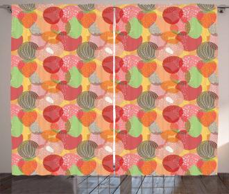 Jumbled Summer Fruits Curtain