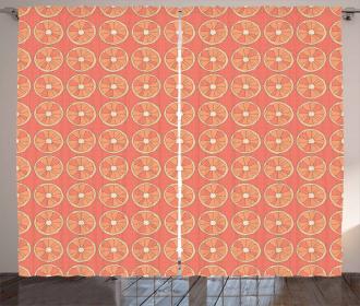 Retro Grapefruit Dot Curtain