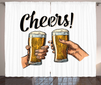 Two Hands Beer Cheers Curtain